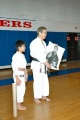 Harrison Pham, Rochester N.H. Shotokan, presenting Kancho with a drawing, June 2007